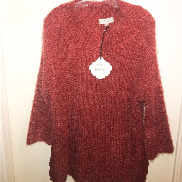 Knox Rose Sweaters - Knox Rose burgundy oversized sweater